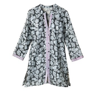 Women's Sleep Shirt - Evening Shade Floral Button-Front Long Pajama Top (More options available)