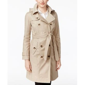 London Fog Petite All-Weather Double-Breasted Stone in Size PXXL - Beige - XXL