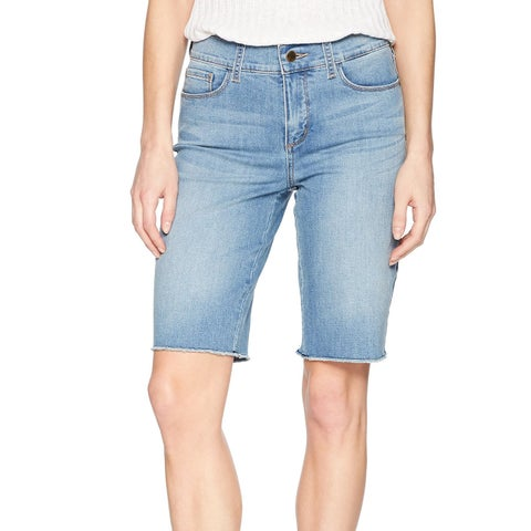 NYDJ Blue Womens Size 12 Raw Hem Tummy Control Briella Denim Shorts