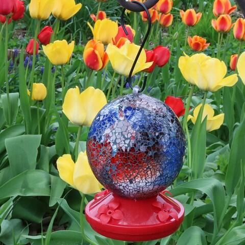 Sunnydaze Round Glass Mosaic Hummingbird Feeder 6 Inch