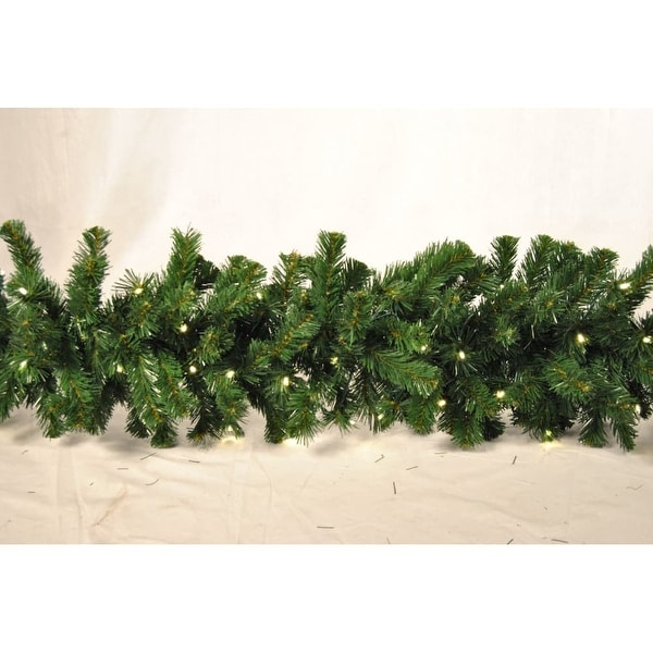 Christmas at Winterland WL-GARSQ-09-LWW 9 Foot Pre-Lit Warm White LED Sequoia Garland - Warm White - N/A