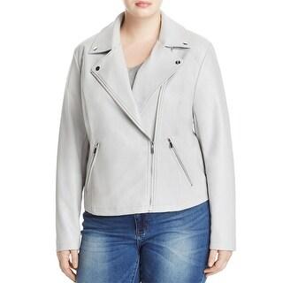 Bagatelle Womens Plus Motorcycle Jacket Faux Leather Asymmetric Zip