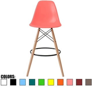 """2xhome Eames Style Armless Bar Stool Chair with Natural Wood Eiffel Legs 25"""" or 26"""" Seat Height (Details in Dimension Photo)"""
