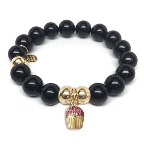 Julieta Jewelry Cupcake Charm Black Onyx Bracelet