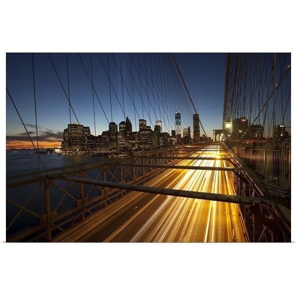 """Brooklyn Bridge and Manhattan at night, New York City, New York"" Poster Print"