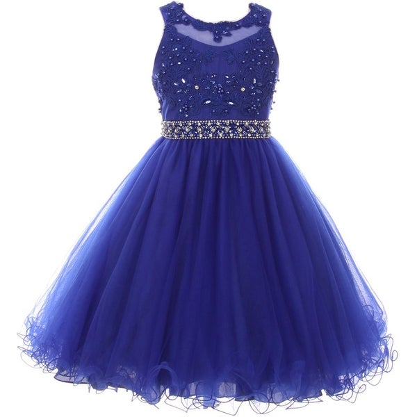 35577e2902f Shop Flower Girl Dress Rhinestone Pearl Beaded Mesh Bottom Royal CC 5013 - Free  Shipping Today - Overstock - 17752259