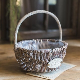 G Home Collection Rustic Handmade Willow Basket with Carry Handle (Set of 2)
