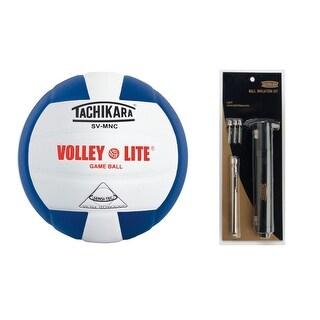 Tachikara SVMNC Volley-Lite Training Volleyball Pump Bundle (Royal Blue/White)