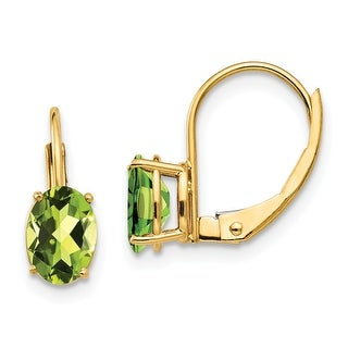 Link to 14K Yellow Gold 7x5mm Oval Peridot Leverback Earrings by Versil Similar Items in Earrings