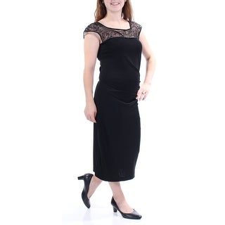 MAXMARA $495 Womens New 2387 Black Lace Jewel Neck Cap Sleeve Maxi Dress M B+B