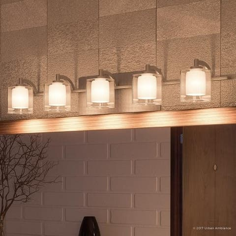 "Luxury Modern Bathroom Vanity Light, 6""H x 42""W, with Posh Style, Brushed Nickel Finish"