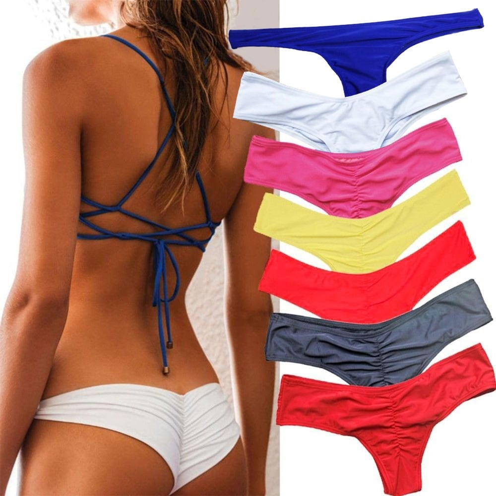 Women Sexy Ruched Solid Color Bikini Bottom Swimwear Hipsters Thong Beachwear