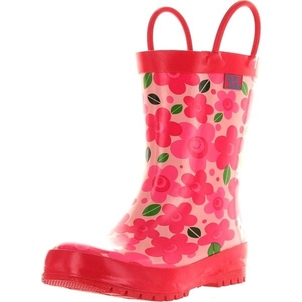 Pluie Pluie Girls New Pink Flower Fashion Rainboots - new pink flower