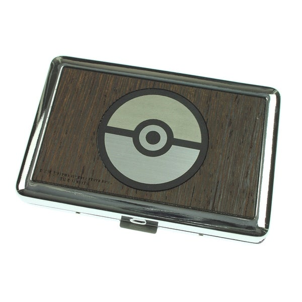 Pokemon Poke Ball Marquetry Black Walnut/Metal Business Card Holder - One Size Fits most