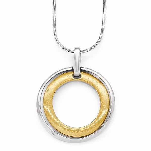 Italian Sterling Silver Gold-tone Flash 24k Plated Pendant