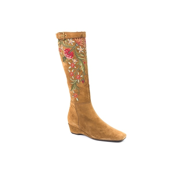 704c2d985849 Shop Car Shoe Womens Tan Tall Embroidered Floral Suede Boots - Free ...