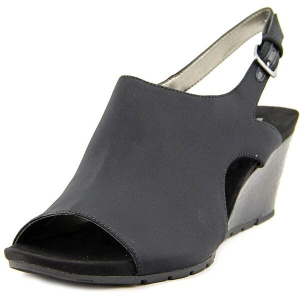 Bandolino Galatee Women Open Toe Canvas Black Wedge Sandal
