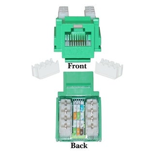 Offex Cat5e Keystone Jack, Green, RJ45 Female to 110 Punch Down