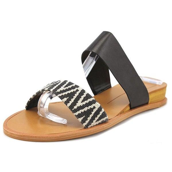 Dolce Vita Payce Women Open Toe Leather Black Slides Sandal