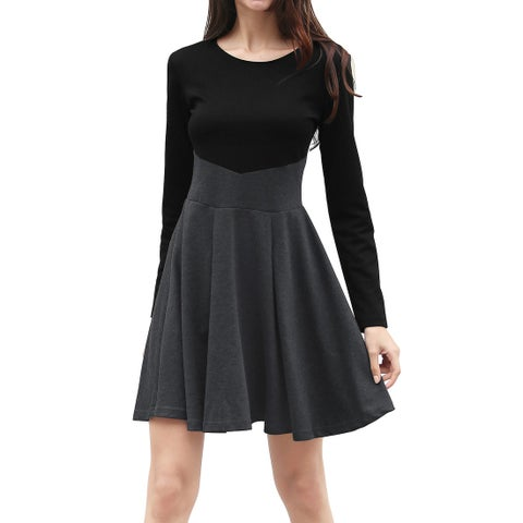 Allegra K Women Long Sleeves Contrast Color Above Knee A Line Dress