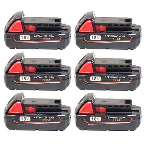 Replacement 2000mAh Battery for Milwaukee 2630-20 / 2701-20 / 2796-22 Power Tools (6 Pk)