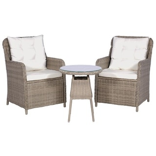 vidaXL 3 Piece Bistro Set with Cushions and Pillows Poly Rattan