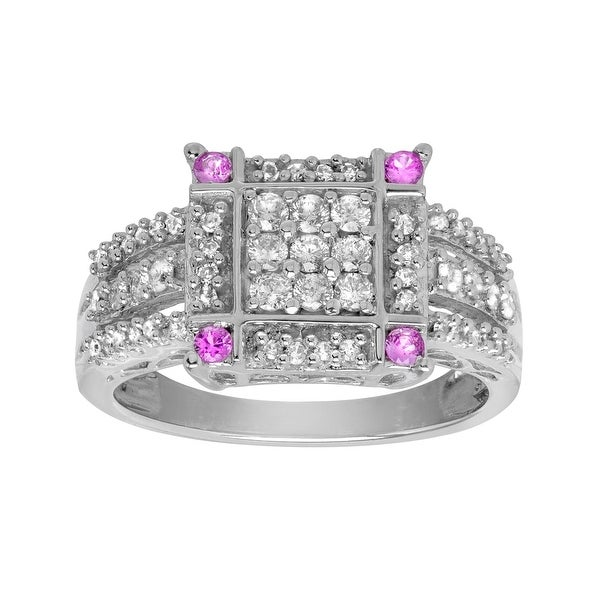 1/2 ct Diamond Ring with 1/6 ct Pink Sapphires in 14K White Gold