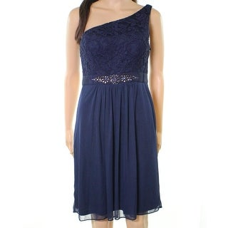 Adrianna Papell Blue Womens Size 18 One-Shoulder Lace Sheath Dress