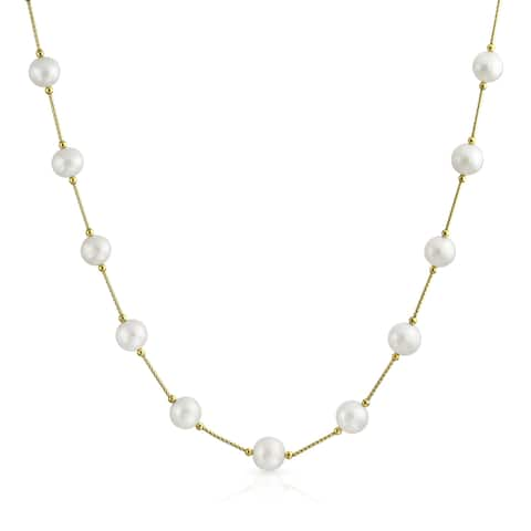 14K Gold Freshwater Cultured Pearl Bar Link Tin Cup Necklace 7mm