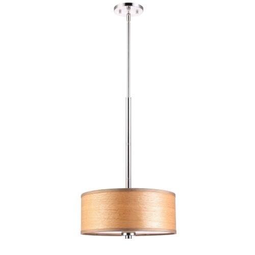 "Woodbridge Lighting 13420STN-SV1150B 35"" Height 3 Light Drum Pendant with Brulee Wood Veneer Shade and Satin Nickel Finish"