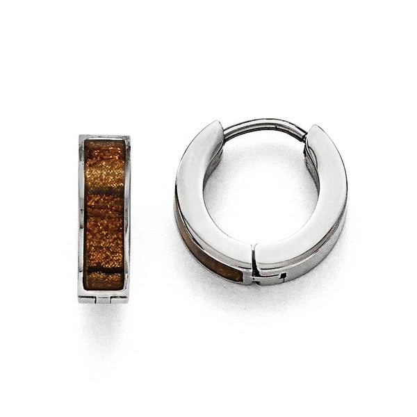 Chisel Stainless Steel Polished Brown/Black Enameled Hinged Hoop Earrings