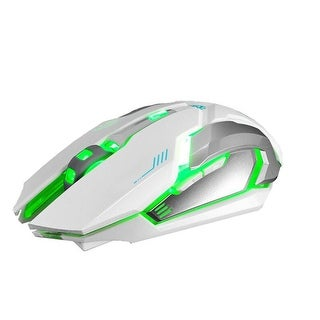Rechargeable X7 Wireless Silent LED Backlit USB Optical Gaming Mouse - White