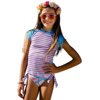 Sun Emporium Girls Aqua Blue Short Sleeve Rash Guard Bikini Set