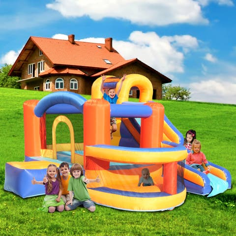 Outdoor Inflatable Bounce House,Slide Bouncer with Basketball Hoop