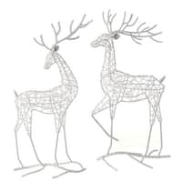 """19"""" Snowy Winter Glittered White Prancing Rear Facing Fawn Deer Christmas Table Top Figure"""