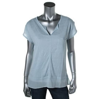 Sanctuary Womens Linen Short Sleeves Pullover Top