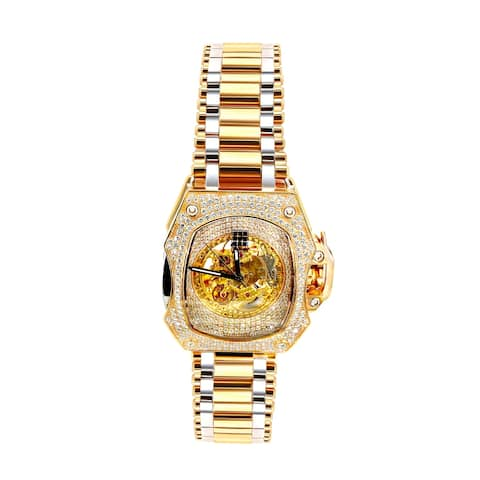 Prism Jewel Men Open Skeleton Diamond Watch With 6.80ct White Diamond - 33mm Diameter