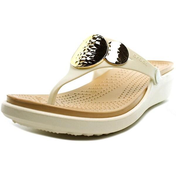 Crocs Sanrah Embellished Wedge Flip Women Open Toe Synthetic Ivory Wedge Sandal