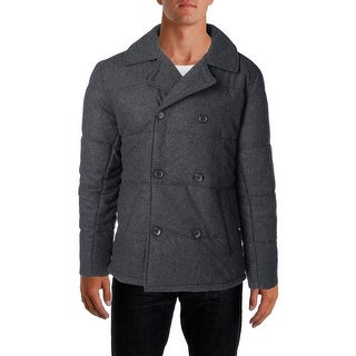 Tommy Hilfiger Mens Quilted Wool-Blend Pea Coat