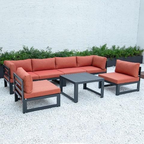 LeisureMod Chelsea 7-Piece Conversation Set Aluminum Sectional & Table