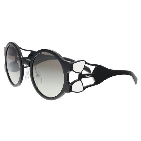 f600b8730e Shop Prada PR 13US 1AB5O0 Black Round Sunglasses - 54-24-140 - On ...