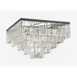 Retro Odeon Crystal Glass Fringe 5 Tier Flushmount Chandelier Flush mount