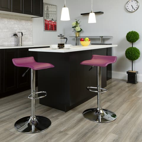 """Vinyl Adjustable Height Barstool with Solid Wave Seat and Chrome Base - 15""""W x 15""""D x 25.5"""" - 34""""H"""