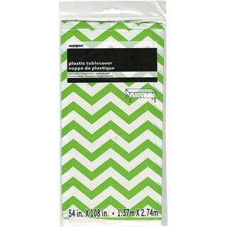 "Plastic Tablecover 54""X108""-Lime Green Chevron"