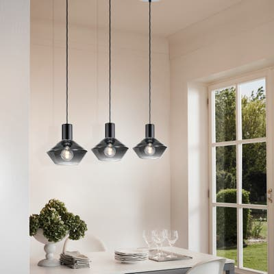 Eglo Ponzano 3-light Black Chrome Linear Pendant with Smoked Glass