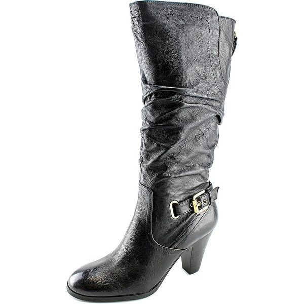 Guess Mallay Women  Round Toe Leather Black Mid Calf Boot