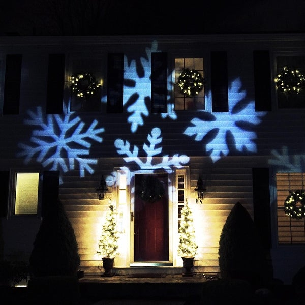 Outdoor LED Snowflake Christmas Light Projector with Remote Control - black