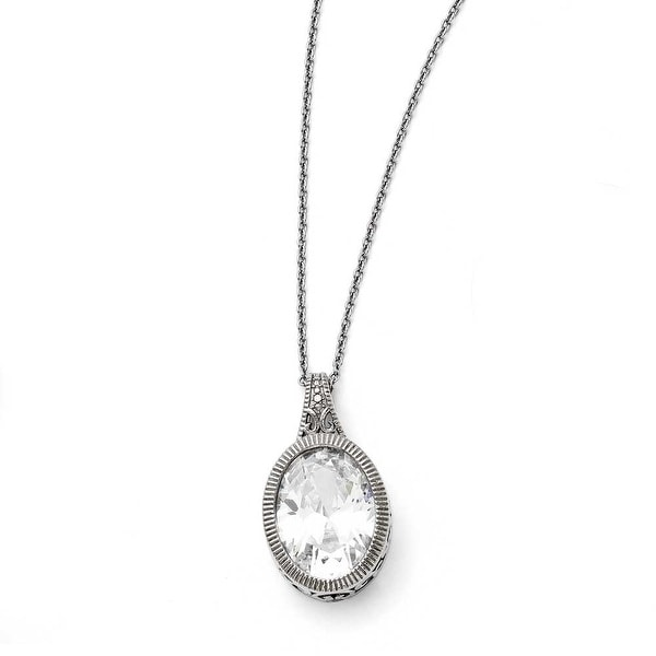 Chisel Stainless Steel Oval Crystal Necklace (1 mm) - 18 in