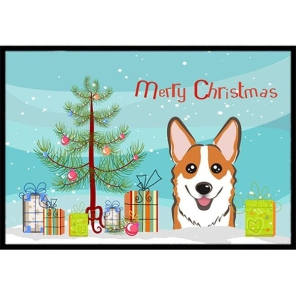 Carolines Treasures BB1626MAT Christmas Tree & Red Corgi Indoor or Outdoor Mat 18 x 27
