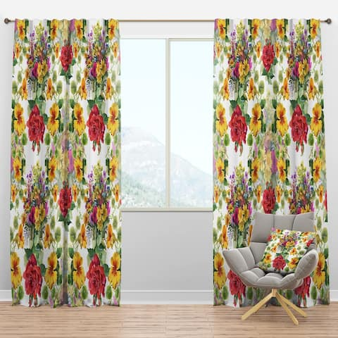 Designart 'Blooming Red Roses And Hibiscus' Floral Blackout Curtain Panel